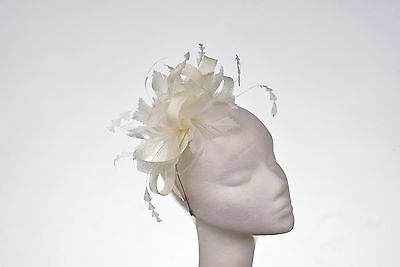 Ivory Hat Fascinator Disc Ascot Wedding Mother of the Bride Occasion
