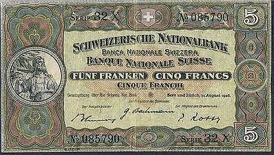 SWITZERLAND BANKNOTE 5 P11l 1946 GVF 1/3 types this pick