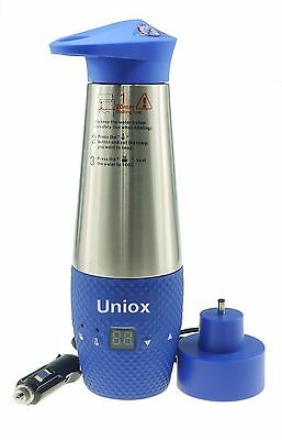Car Heating Cup Travel Kettle Electric Vacuum Insulated Stainless Steel Blue 12V