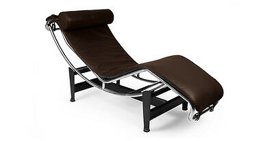 Le Corbusier Style LC4 Chaise Lounge, Choco Brown Aniline Leather
