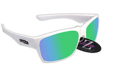 RayZor Uv400 424 White Framed Green Mirrored Lens Cricket Sunglasses RRP£49