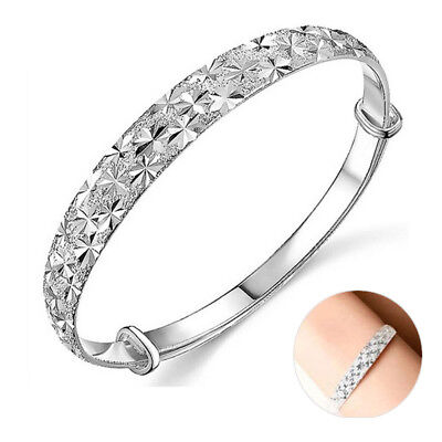 925 Sterling Silver Bangle Bracelet Charm Lady Womens Jewellery Gift