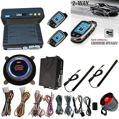 2Way Car Security Alarm System Remote Engine Start Keyless Entry LCD Immobilizer