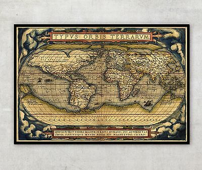 "Very Large, Antique style map of World, Historic wall map, 55"" x 77"", Ortelius"