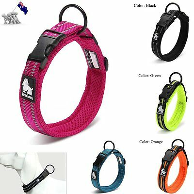 3M Reflective Adjustable Puppy Soft Mesh Padded Pet Dog Collar Buckle 6 Sizes AU
