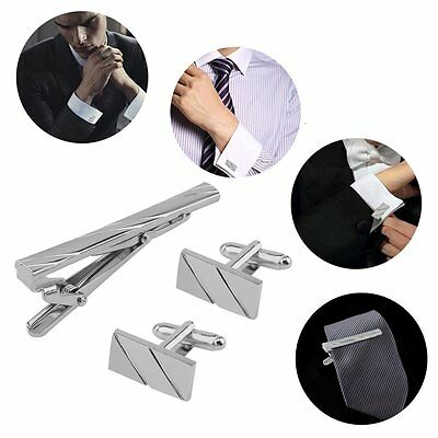 Gentleman Stainless Steel Oblique Cutting Fringe Tie Clip and Cufflinks Set PK