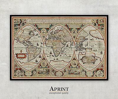 "Extra LARGE Beautiful Vintage World Map print , 56"" x 84"""