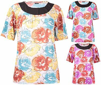 Womens Plus Size Short Sleeve Flower Print Pleated Neck Stretch Ladies Long Top