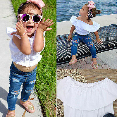 Fashion Toddler Baby Girl Off Shoulder Shirt Top+Jeans Pants Outfit Clothes Set