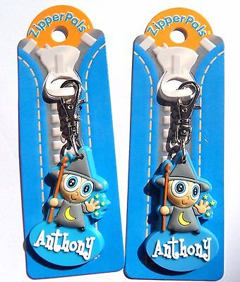 2 Anthony Zipper Pals Quality Key Rings/bag Tags Personalised Gifts Brand New