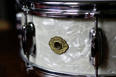 Slingerland Radio King Nashville Snare Drum White Pearl 14 x 5.5 Steambent maple