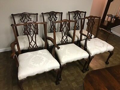 Baker Quality Set of 6 Vintage Chippendale Ball Claw  Chairs  Dining Chairs