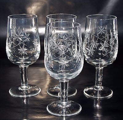 Lovely Set of Four Delicate Hand Cut Crystal Port  Sherry Glasses - 80 ml