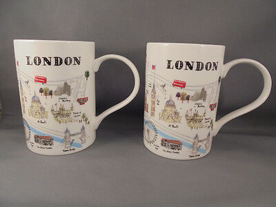 Pair Alice Tait Temple Island Collection London Map Mugs