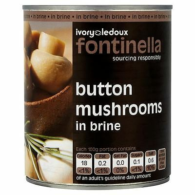 Fontinella Button Mushrooms in Brine 800g (Drained Weight 460g)  6 Tins