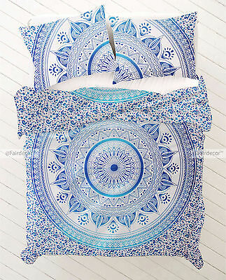 King Size Blue Ombre Bohemian Boho Bedding Duvet Quilt Cover With Pillowcovers