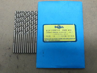 12 GREENFIELD #33 Jobber Length HSSCo Twist Drill Bright Finish Bits M42 Cobalt