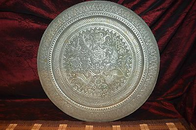 """Antique Vintage Silver Tone Middle East Persian Qajar Tray Engraved 15 1/2"""""""