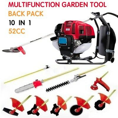 Backpack Multi Brush cutter 10 in 1 Grass cutte 52cc Petrol strimmer Tree Pruner