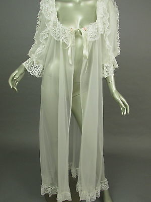 Vintage 80s Tosca of California White Sheer Peignoir Robe Bridal Lingerie Large