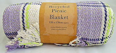 Country Club Recycled Cotton Picnic Blanket 120 x 150cm Lilac Throw Travel Rug