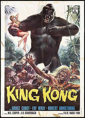 King Kong 1933 Rko Manifesto Horror Delta White Logo R-1966 Used Movie Poster 2F