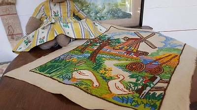 Enchanting Vintage Hand Embroidered Panel Farm Garden Windmill Geese