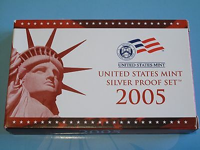 2005 SILVER PROOF SET 10 COINS ORIGINAL U.S. MINT PACKAGING and CERTIFICATE