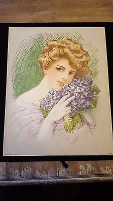 Antique Original 1910 VICTORIAN PURPLE HYACINTH LADY Grey Lithograph Art Print