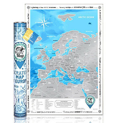 The Europe Scratch Map, Personal Travel Map, Creative poster gift Discovery Map