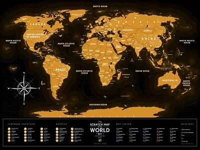 Travel Map Gold Black, World Scratch Map, Personal travel map, Poster.