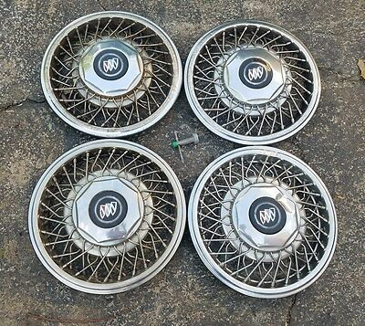 """Set of 4 OEM 1989-93 Buick Park Ave Lesabre 15"""" Wire Spoke Hubcap Wheel Covers"""