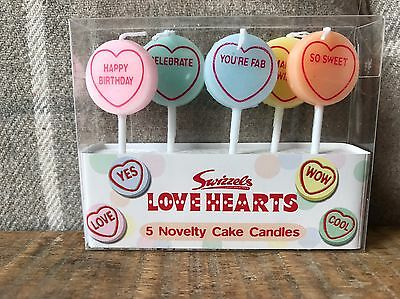 Love Hearts 5 Novelty Cake Candles..