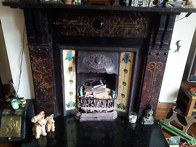 Antique Victorian Fireplace cast iron tiled insert NORTHUMBERLAND