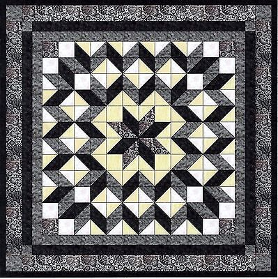 CARPENTER'S STAR in Black/Grey - Not Quilted, Machine Pieced, Made in the USA!
