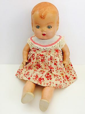 "14"" Creepy Bizarre Vtg Antique Unmarked Composition Baby Doll Sleepy Eyes"
