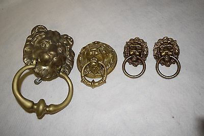 Lot of 4 Vintage Brass Lion Head Door Knockers