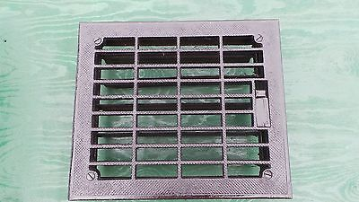Vintage VICTORIAN Cast Iron Floor Grille 14x12  Heat Grate Register with Louvers
