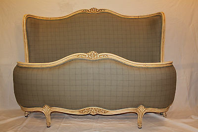 ANTIQUE FRENCH VINTAGE KINGSIZE CORBEILLE BED RE UPHOLSTERED in new Silk/Linen