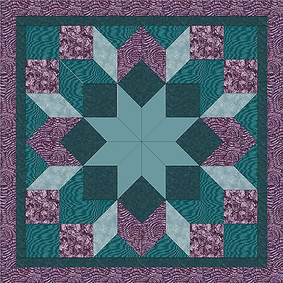 TURQUOISE & ROSES LONE  STAR - Not Quilted, Machine Pieced, Made in the USA!