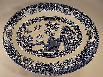 "Blue & White Willow Pattern 11.5"" Oval Serving Dish Tureen Plate VGC"