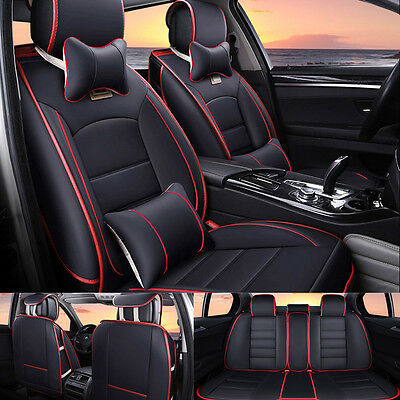 Car Seat Cover Deluxe PU Leather Front+Rear Cushion 5 Seats Rear Mat Adjustable