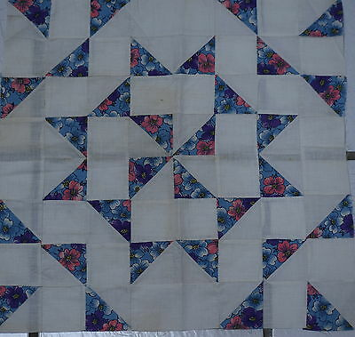 5 1930's large Pinwheel Star quilt blocks, nice fabrics, tiny doll quilts