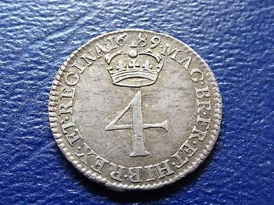 WILLIAM & MARY SILVER MAUNDY FOURPENCE 1689 4d SUPER COIN GREAT BRITAIN UK