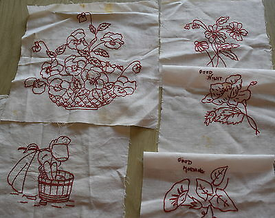 5 1930's Redwork embroidery quilt blocks, cute Designs!
