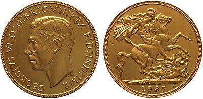 1937 24k GOLD PLATED King George VI Half Sovereign United Kingdom - COPY COIN