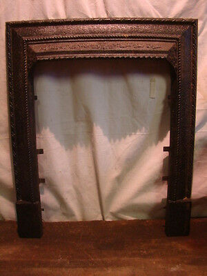 Antique Late 1800's Cast Iron Ornate Fireplace Insert Cover Frame...floral A