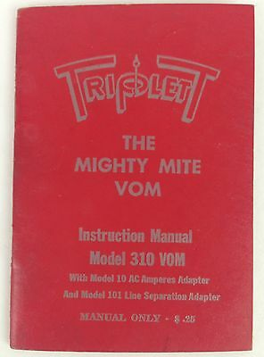 TRIPLETT THE MIGHTY MITE VOM Model 310 VOM Manual Booklet ~Free Ship!~