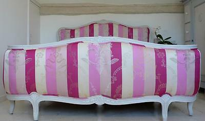 VINTAGE FRENCH CORBEILLE SUPER KING SIZE BED UPHOLSTERED in Designers Guild Silk