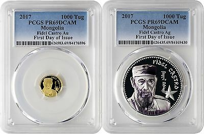 2017 Fidel Castro Gold & Silver 2 Coin Proof Set PCGSPR69DCAM First Day